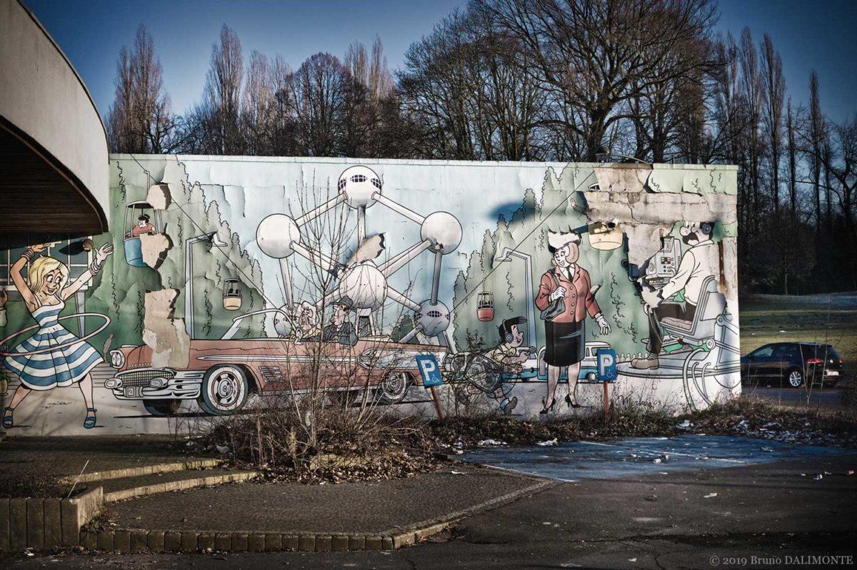 Photographie de la fresque de Kiekeboe près de l'atomium © 2019 Bruno D'Alimonte
