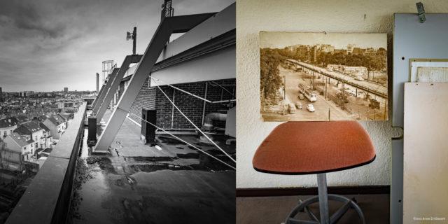 Bruxelles, Vue depuis les toits de l'Hôtel communal d'Etterbeek et relique photographique © 2020 B. D'Alimonte