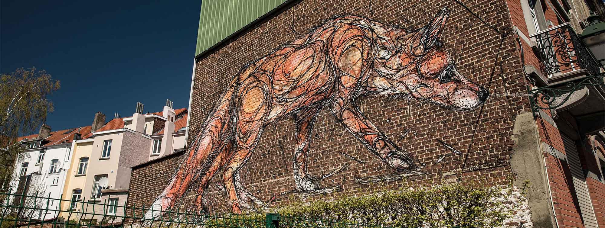 Fresque de renard street art etterbeek